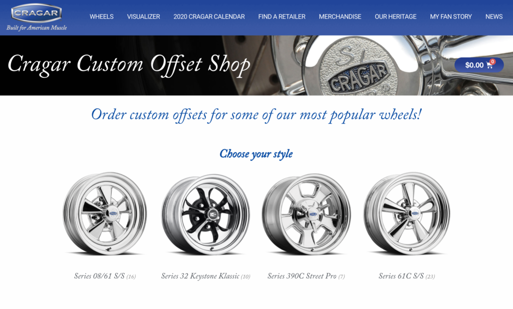 Cragar® Introduces Online Ordering for Custom Offsets